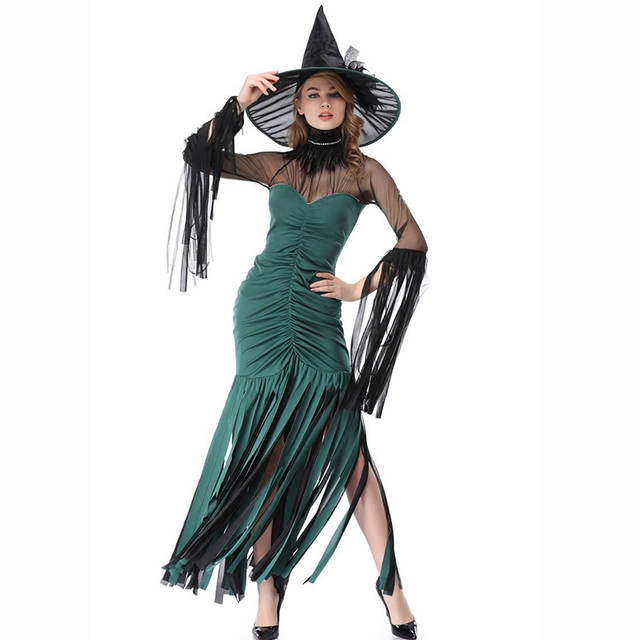 abc3406678a Green Halloween Carnival Party Sexy Costumes Women Cosplay Outfit ...