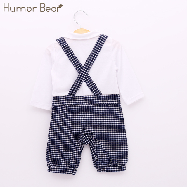 Humor Bear Baby Boy Clothing Set Autumn Style Gentleman Long Sleeve White Shirt Grid Suspenders Hat + Clothing Suits