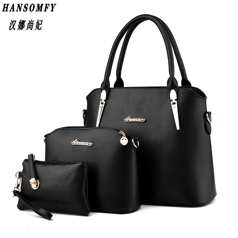 Han 100% Genuine leather Women handbag 2017 New Three piece type fashion Crossbody Shoulder Handbag women messenger bags  100% genuine leather women handbag 2017 new commuter type fashion handbag crossbody shoulder handbag women messenger bags