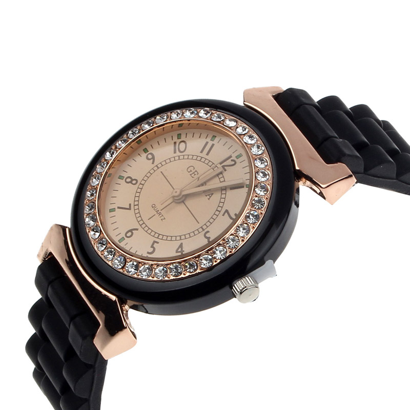 Classic Rhinestone Women Watches Geneva Rubber Watch Strap Bracelet Women Wrist Quartz Casual Simple Fashion Ladies Watch 2019