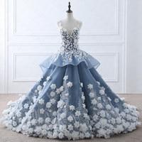 TW0184 Fada Flor Bege Apliques Vestido de Casamento de Luxo Com Fotos Reais Vestidos de Noiva Azul Royal