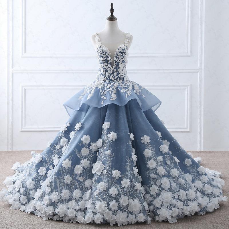 Online Shop TW0184 Flower Fairy Beige Appliques Luxury Wedding Dress ...