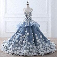 TW0184花妖精ベージュアップリケ高級ウェディングドレスでリアル写真ロイヤルブルーウェディングドレス