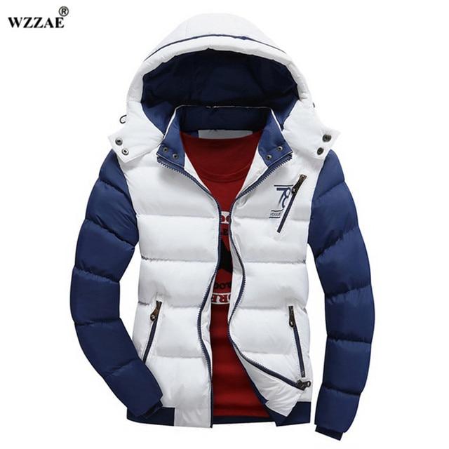 Cheap WZZAE 2018 Brand New Winter Jacket Men Warm Down Jacket Casual Parka Men padded Winter Jacket Casual Handsome Winter Coat Men