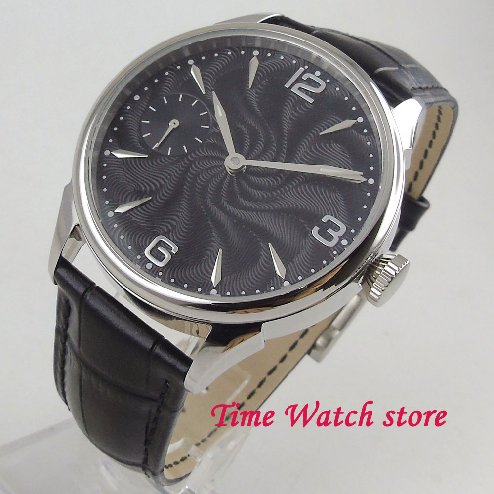 Classic 42mm men's watch black dial silver marks 17 jewels Mechanical 6497 Hand Winding movement cor1009 цена и фото
