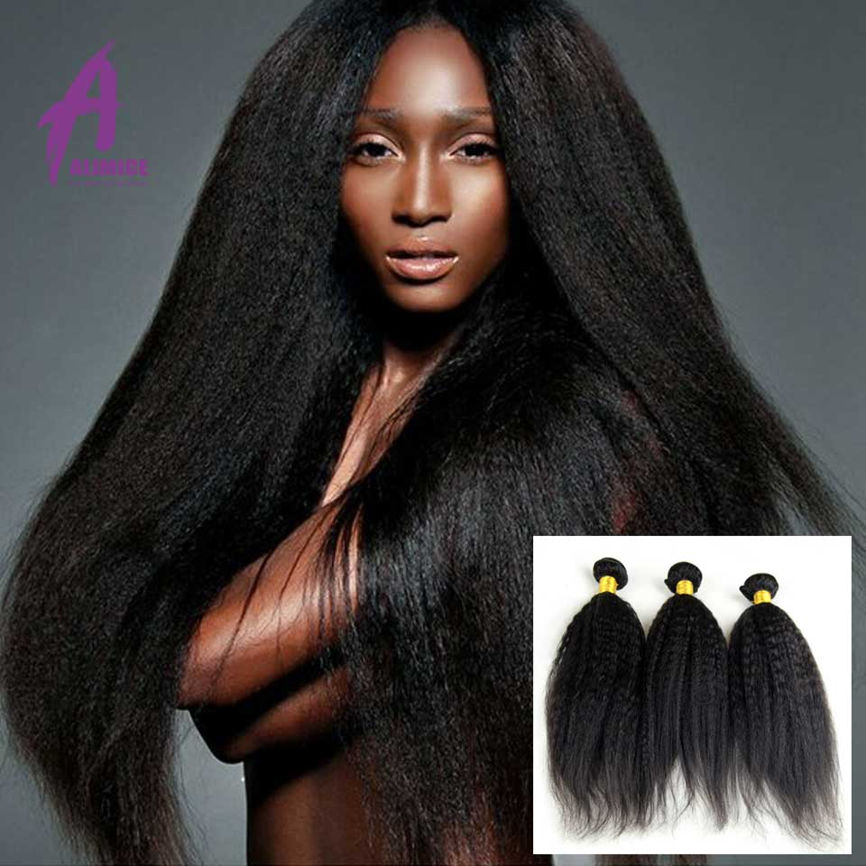 купить Kinky Straight Hair Yaki Human Hair Extension 4 Bundles Brazilian Virgin Hair 8a Unprocessed Virgin Kinky Straight Hair Weave
