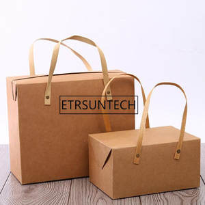Cake-Boxes Food-Packaging-Box Bakery Vintage Gift-Box Kraft Paper Portable-Handle 50pcs
