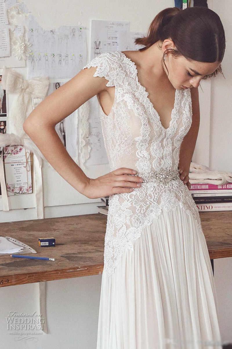Vestido De Noiva 2019 пляжное свадебное платье-Бохо длинное ТРАПЕЦИЕВИДНОЕ кружевное шифоновое с открытой спиной арабское свадебное платье свадьба платье
