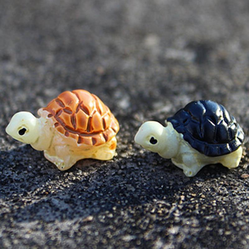 2PCS Mini Tortoise Model Fairy Garden Miniatures DIY Doll House/ Terrarium/ Home Desktop/ Succulents/ Micro Landscape Decoration