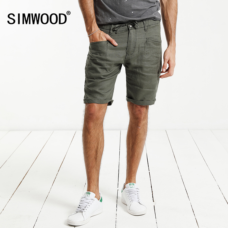 SIMWOOD 2018 Summer New Shorts Men 100% Pure Linen Thin Breathable Knee Length Slim Fit Plus SizeBrand Clothing KD5066