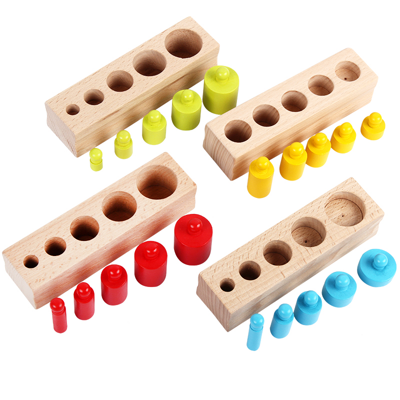 New Arrival Kids Montessori Toys Colorful Socket Cylinder Set Beech Wood Multicolor Blocks Early Educational Math Teaching Toys