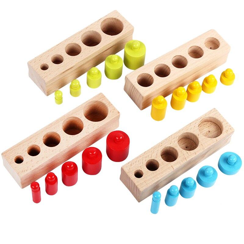 Novedad niños Montessori juguetes colorido zócalo cilindro conjunto de madera de haya Multicolor bloques educativos temprano matemáticas enseñanza Juguetes