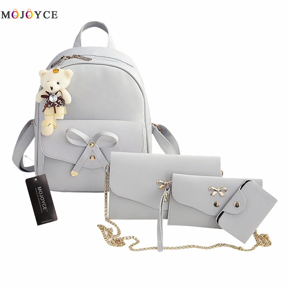 4 pcs/Set Women Backpack Small Size Fashion Teenage