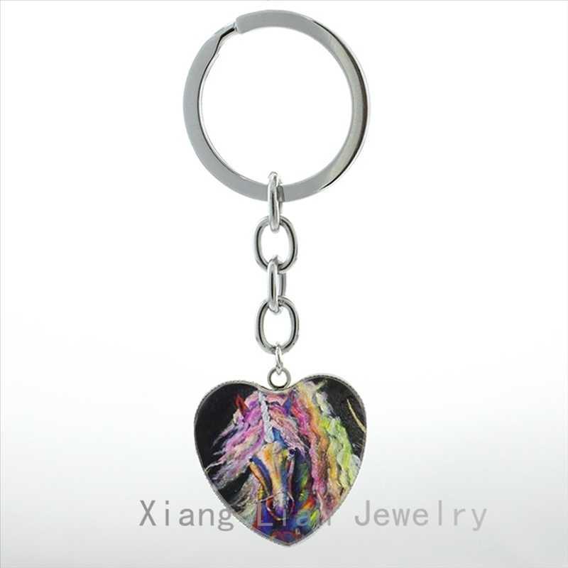 בציר קשת חדי קרן תמונה keychain תכשיטי פנטזיה מיתוס בעלי החיים Unicorn סוס לב תליון מפתח שרשרת טבעת נשים גברים HP124