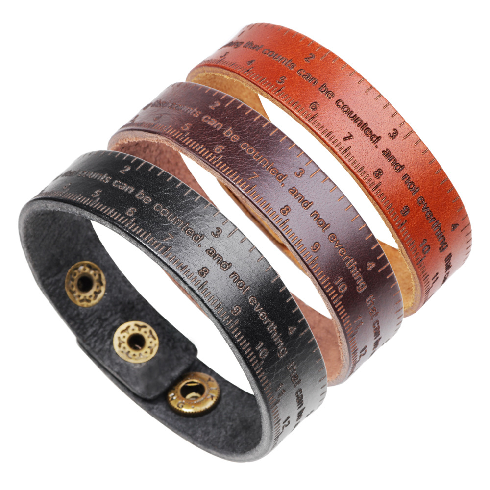 LOULEUR New Vintage Adjustable Ruler Leather Bracelets For Men Letter Coffee Brown Color Punk Bangles Male Jewelry in Charm Bracelets from Jewelry Accessories