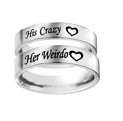 Кольцо обручальное кольцо Юбилей Обручение Promise Ring Его Сумасшедший ее Чудик из нержавеющей стали Кольца