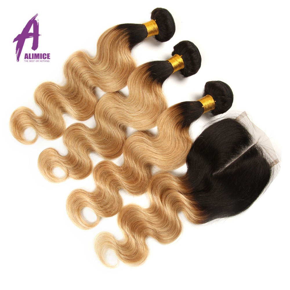 Alimice Blonde Brazilian Body Wave Human Hair Bundles With Closure 3 Bundles With Closure Dark Roots