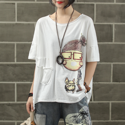 Женская модная брендовая летняя винтажная Лоскутная футболка с принтом собачки из мультфильма для маленькой девочки, Милая Короткая Женская Повседневная футболка - Цвет: white