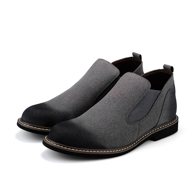 The Chelsea Boot Men Suede Hombre Martin Boots Low Heel Nubuck Leather Ankle Boots Vintage Sewing Thread Britain Botas