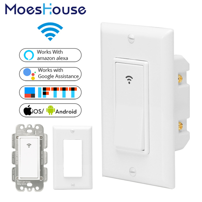WiFi Smart Wall Light Switch Mobile APP Remote Control No Hub Required Works with Amazon Alexa Google Home IFTTT for Smart Home wifi smart wall touch switch glass panel mobile app remote control no hub required work with amazon alexa google home us eu uk