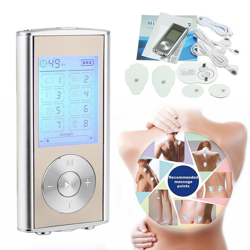1 Set High Quality Dual LCD Digital Low Frequency Therapy Tens MP3 Stimulator Mini Body Massager Pain Relieve US Plug 2017 hot sale mini electric massager digital pulse therapy muscle full body massager silver