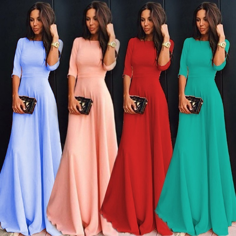 Long Autumn Winter Formal Evening Dresses With Sleeve A Line 9