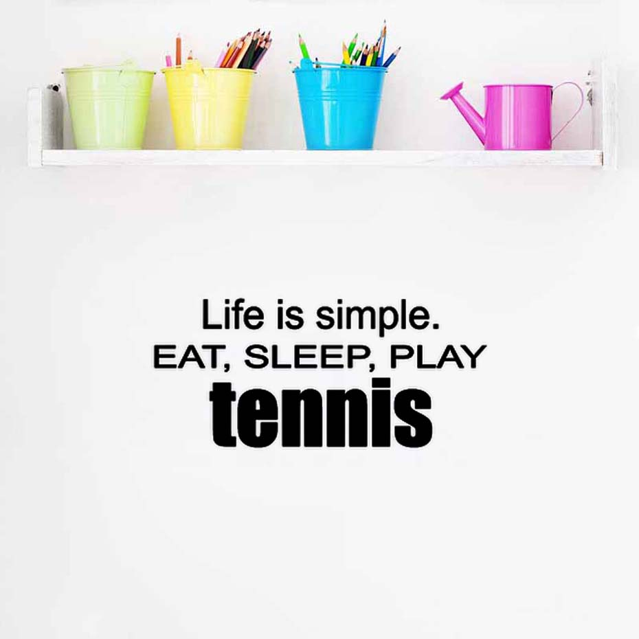 DCTOP Play Tennis Life Is Simple Eat Sleep Family Wall Decal Self Adhesive Wallpaper For Living Room Wall stickers