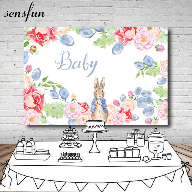 Sensfun Flowers Peter Rabbit Baby Shower Backdrop Children Birthday Party Table Dessert Decoration Backgrounds 7x5ft Vinyl