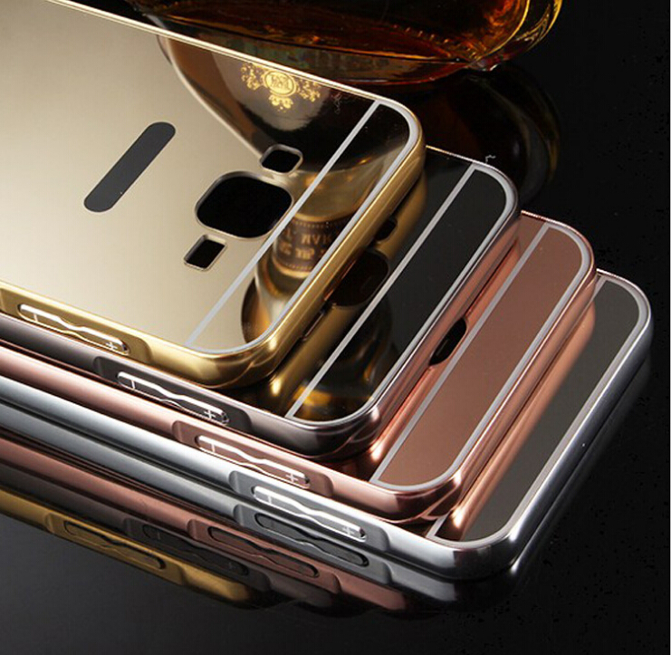 Mirror protective Phone cases For Samsung Galaxy J7 samsung j7 case 2015 J7000 J700F Plated Aluminum Frame + Acrylic PC Cover