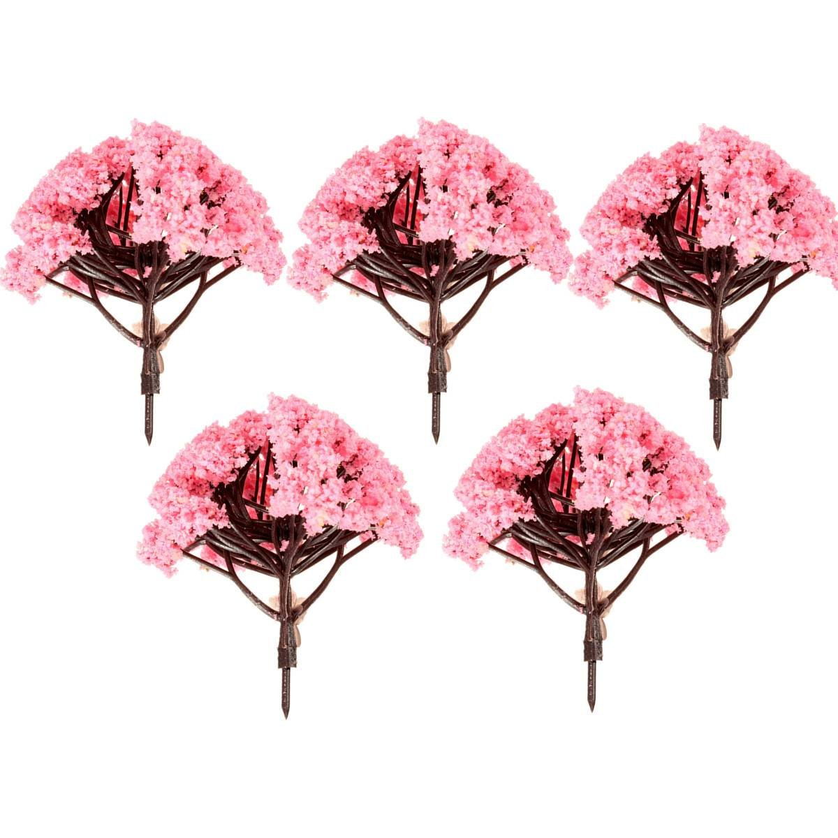 Online get cheap miniature flowering trees aliexpress 5pcs pink flower tree miniature fairy garden dollhouse layout model decor ornament 8cmchina dhlflorist Image collections
