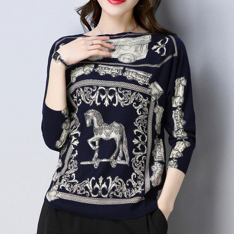 Vintage Runway Designer Brand Knitted Sweater 2018 Women Slash Neck Pullovers Print Long Sleeve Korean Fashion Jumper Autumn