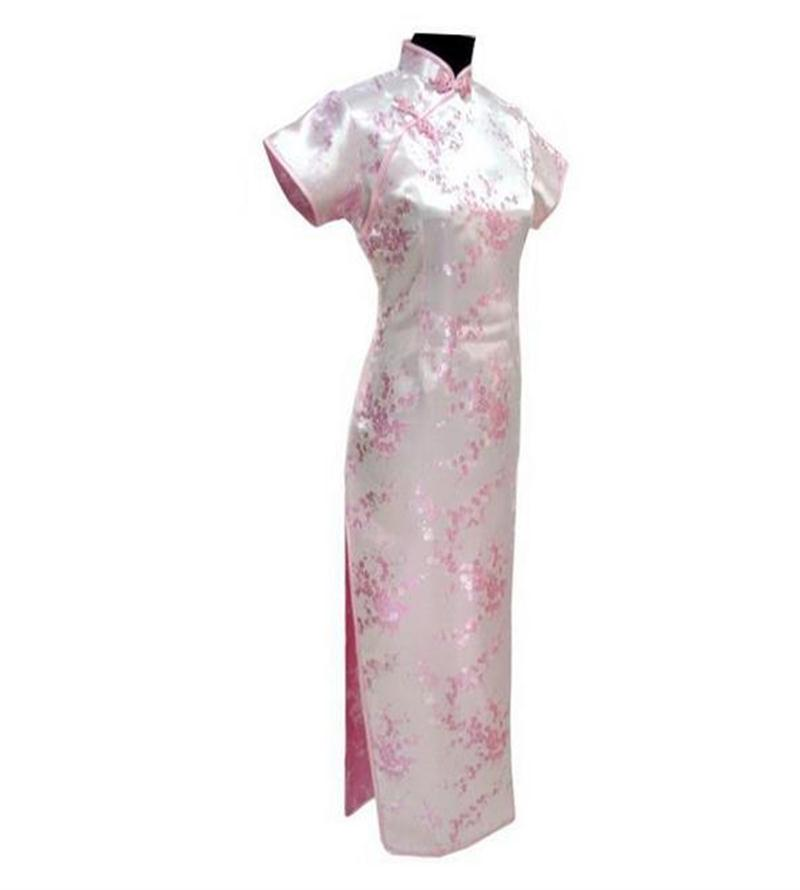 Light Pink Chinese Lady Traditional Prom Dress Vintage Long Cheongsam Qipao Button Costu ...