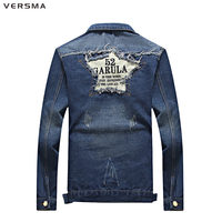 VERSMA Korean Shirt Design Fashion Jean Mens Denim Jacket Woman Men Star Patches Casual Shirt Long Male Ripped Denim Jacket Boys