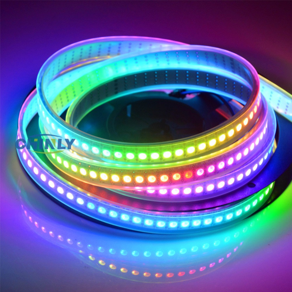 APA102 Smart LED Pixel Strip Light1m / 5m IP30 IP65 IP67 vattentät Ljus 30/60/144 LED / m Pixel DATA och CLOCK Separat DC5V