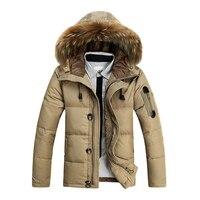 BÁN HOT Fur Collar Trùm Đầu Mùa Đông Dày Xuống Áo Outwear Xuống Màu Cam Kaki Màu Đen M-3XL
