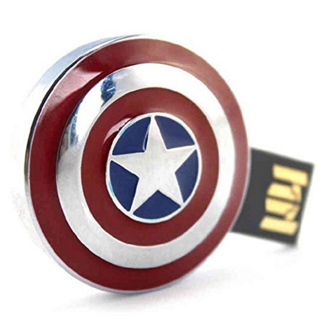 2016 chegada nova capitão américa escudo usb flash drives capacidade real 64 gb 32 gb 16 gb 8 gb 4 gb vara caneta thumbdrive