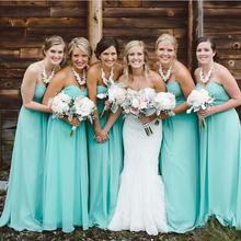2016 Chiffon Sweetheart Long Turquoise Bridesmaid Dress Bridesmaids Gowns Maid Of Honor Wedding Party Gowns  FQ3
