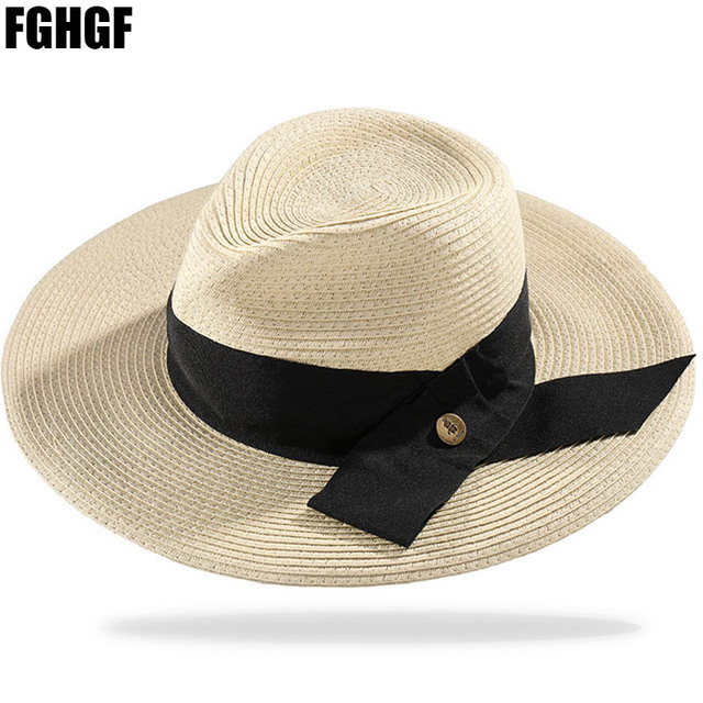 Wanita Musim Panas Lebar Brim Panama Topi Jerami Floppy FGHGF Alami  Kentucky Derby Topi Fedora Pantai 31a9b484dd