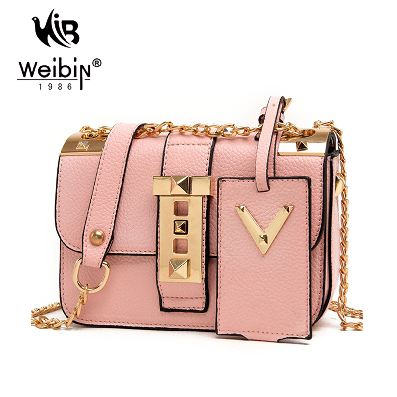 Gold Chain Sling Bag For Women Messenger Bags Mini Bag Pink Bags ...