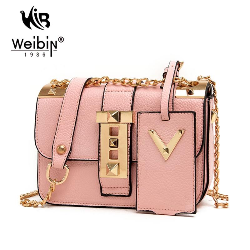 Gold Chain Sling Bag For Women Messenger Bags Mini Bag Pink Bags ...