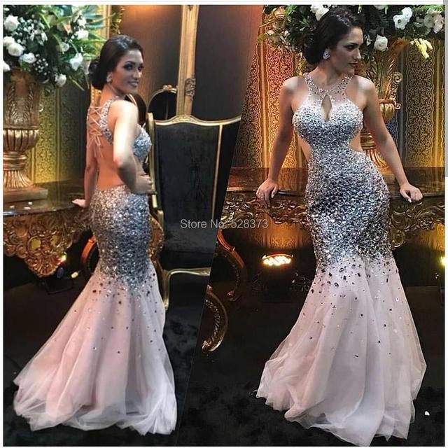 YNQNFS PD15 Vestido de Formatura Festa Crystal Beaded Sexy Backless Mermaid  Trumpet Prom Party Bridesmaid Prom Dresses Long 252652a5d4e5