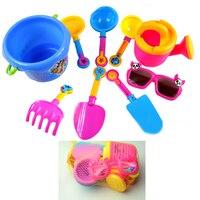 9pcs Set Baby Kids Sandy Beach Toy Set Dredging Tool Beach Bucket Sunglass Baby Playing With