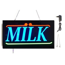 NEW Milk LED Shop Open Signs Business LED OPEN SIGN Animated Motion DISPLAY +On/Off Switch Bright Light neon