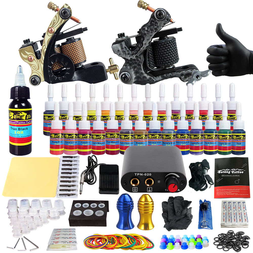 Solong Tattoo complete professional 2 tattoo Machine Guns set Tattoo Kit 28 Inks Needle Grips power supply TK204-6 europe god of darkness robert recommend gp self lock grips gp3 professional tattoo artist grip