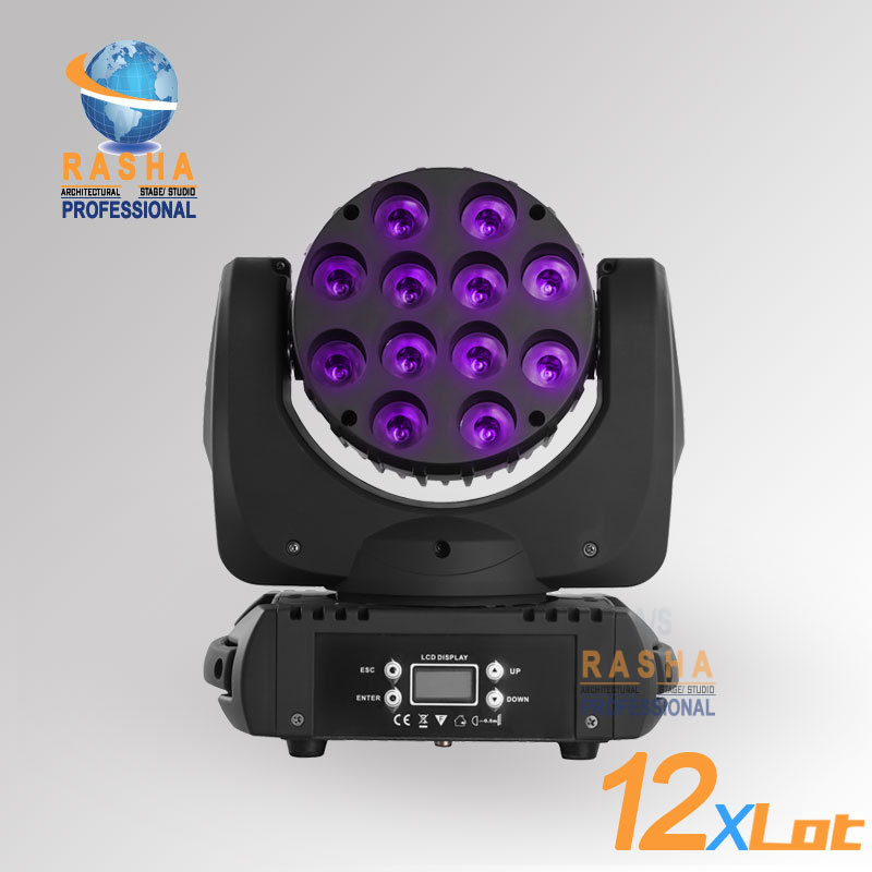 12X LOT High Quality ADJ 12pcs*10W 4IN1 Cree RGBW LED Beam Moving Head Light With LCD Display,Stage Disco Party Moving Head Beam