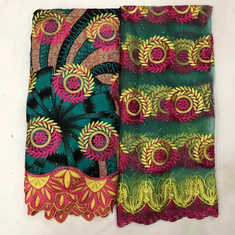 (6+2yards/set ) colorful African wax lace fabric with gorgeous embroidery and beads plus French net lace set for party WXY07(6+2yards/set ) colorful African wax lace fabric with gorgeous embroidery and beads plus French net lace set for party WXY07