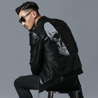 2018 Skull Rhinestones PU Jackets Men High Street Style Stand Neck Sudaderas Hombre Rib Sleeve Streetwear Mens Jackets and Coats