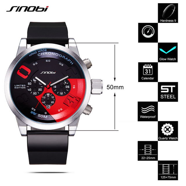 SINOBI Men Sports Watches Relogio Masculino Waterproof Red Dial Mans Chronograph Quartz Wrist Watch 2017 New Fast & Furious