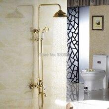 Роскошный Золотой Полированной Ванная Комната Круглый насадка для душа Настенный Смеситель Для Душа