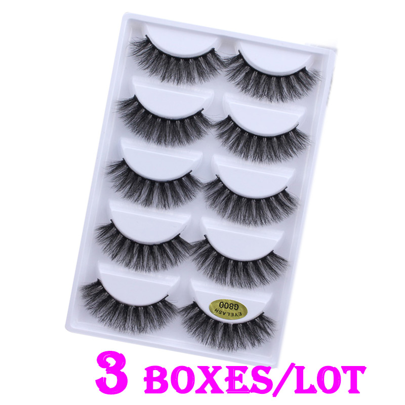 3D Mink Hair False Eyelashes Handmade Natural Long Thick Voluminous Mink Fur Eyelashes Soft Fake Eye Lash extensions Black
